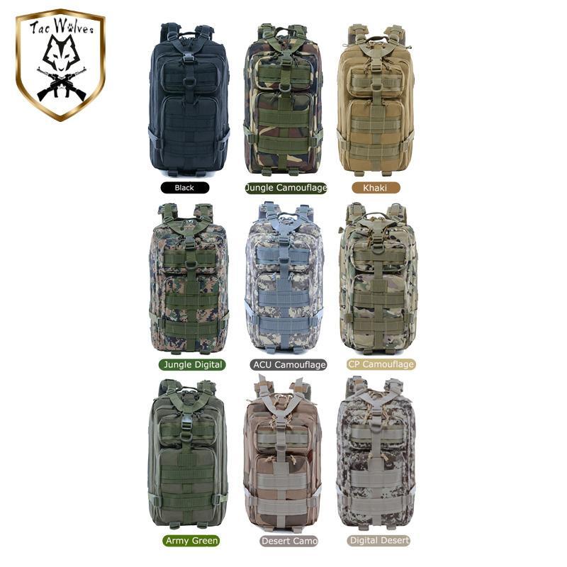 Armee 9 Rucksack wasserdichte Molle Militär Rucksack Wandern Taktisches Klettern Camping Bag Jagd Outdoor Farben Rucksack Guokh