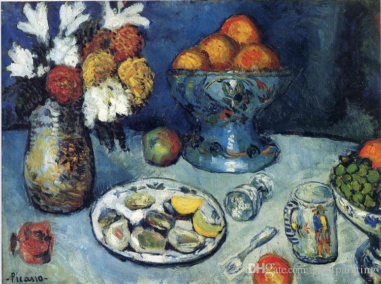 Pablo Picasso Peinture à l'huile classique Nature morte Le Dessert 100% à la main par le peintre expérimenté sur blanc Toile Picasso758