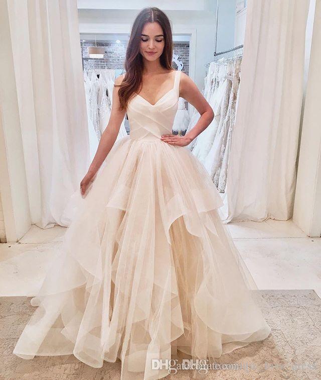 Ruffled Tulle Princess Wedding Dresses 2019 New Design Simple Style Custom Ball Gown Spaghetti Strap Bridal Gowns Vestidos De Noiva W063