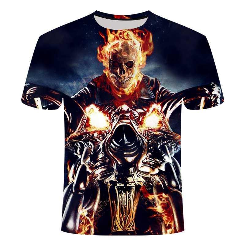 Camiseta del cráneo negro camiseta punky de la motocicleta de los hombres de la llama 3D impreso punk rock superior ocasional ropa de calle de los hombres de hip-hop