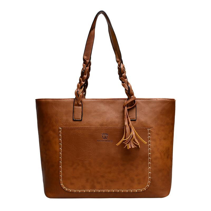 femmes de couleur unie occasionnels de grande capacité poches bordent sac à bandoulière Vintage houppe Sac fourre-tout Tassel tricot sac poignée en cuir