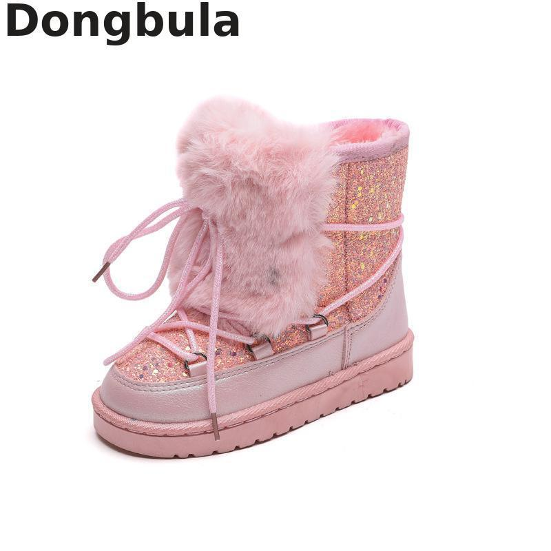 Children Snow Boots Girls Winter Baby Sequins Cotton Shoes Children Warm Plush Boots Kids Suede College Fashion Feet Bare