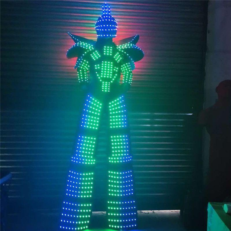 P43 Party ballroom dance led costumes led robot men suit stilts clothing dj RGB full color light men dress disco wears outfits party show dj
