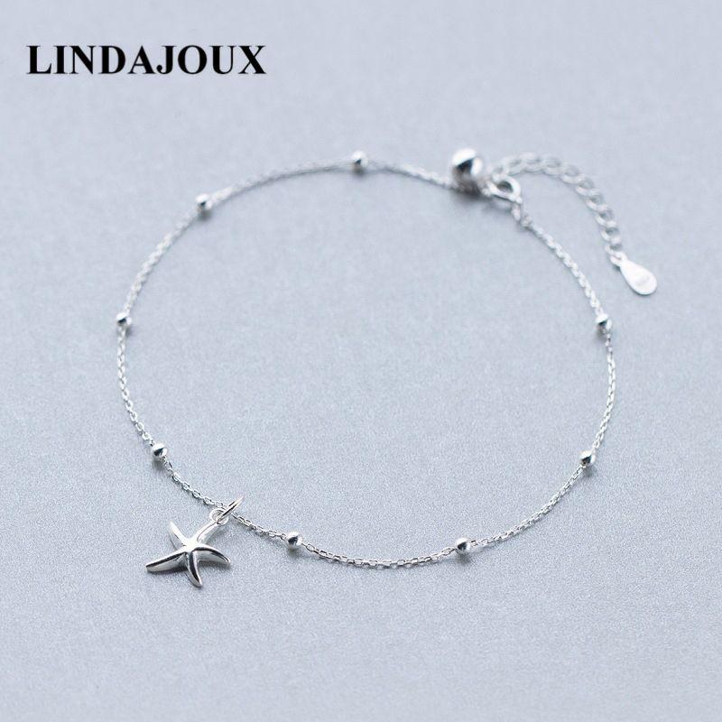 Lindajoux 925 Sterling Silber Mode Sea Star Charm Fußkettchen Für Frauen S925 Knöchel Armband Einstellbar Länge C19041101