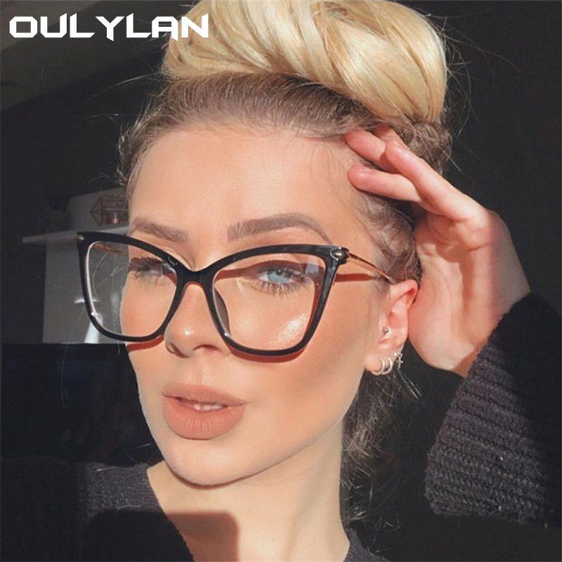 Oulylan 2020 Cat Eye Glasses Frames modo delle donne di miopia Occhiali Lenti incolori falso Occhiali Uomini Eyewear ottico d'epoca