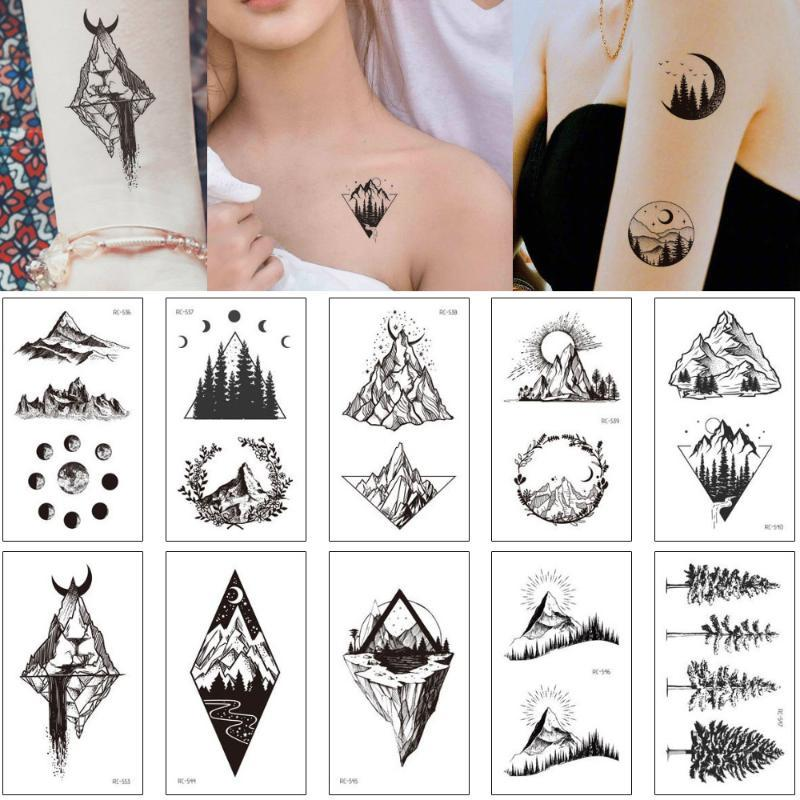 Small Black Body Art Tattoo Sticker Temporary Geometric Mountain Design For Woman Man Arm Ankle Hands Makeup Tattoo Transfer New Inkwear Temporary Tattoos School Temporary Tattoos From Beasy113 36 49 Dhgate Com