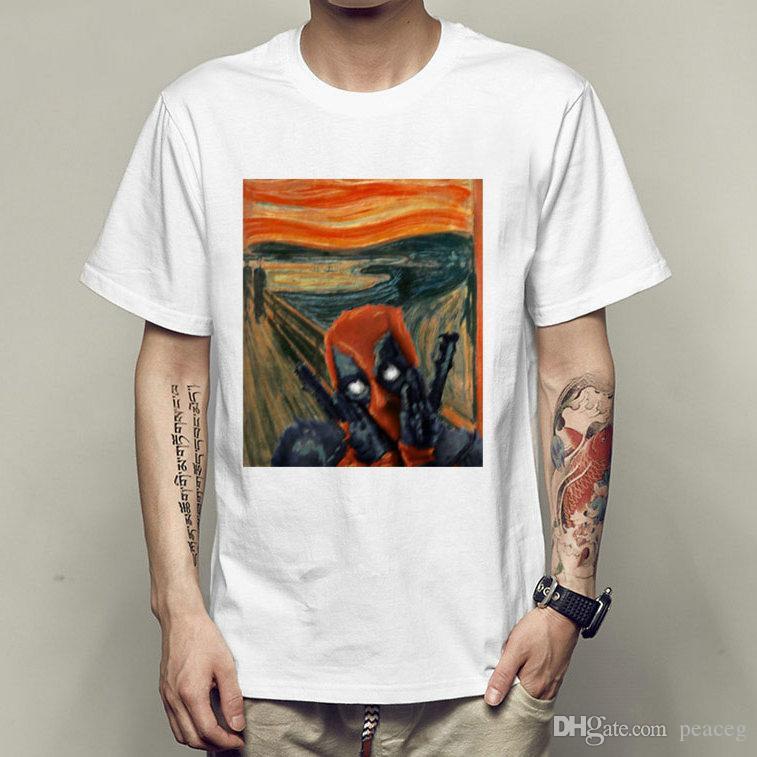 Skrik t shirt Deadpool the scream short sleeve tees Edvard Munch singlet Leisure clothing Elastic cotton Tshirt