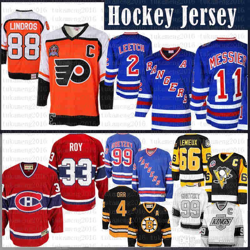 erkekler Eric Lindros Philadelphia Flyers Hockey Jersey 2 Brian Leetch New York Rangers Mark Messier Wayne Gretzky Montreal Canadiens Patrick Roy