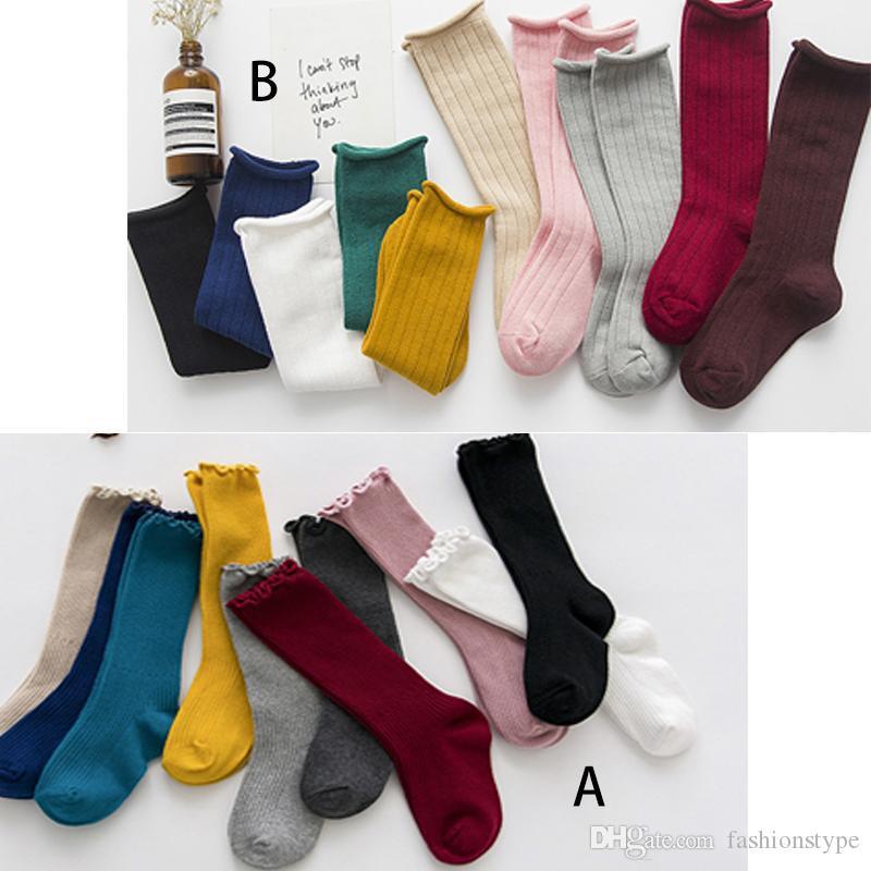 Baby Girls Roble Knee High Socks Need Candy Colors Colors Longs Calcetines de algodón Socking Niños Tejido Bebé recién nacido Calcetines