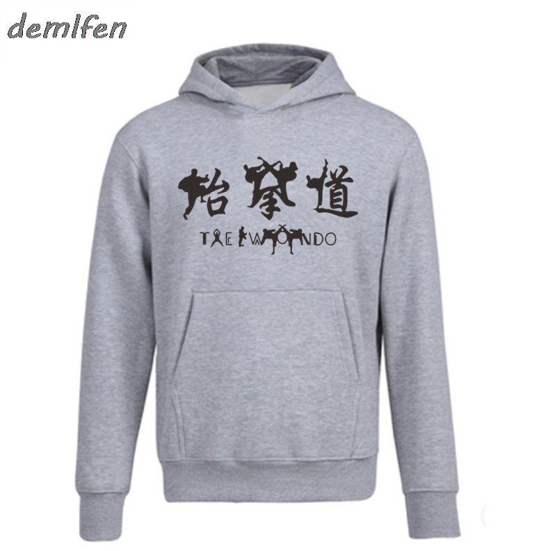 Nouveau mode Taekwondo Sweat Hommes Printemps Casual Automne capuche Zipper Polaire à capuche Homme Tops Veste Hip Hop