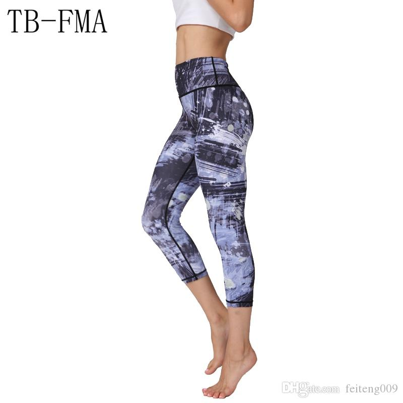 Printed Yoga Pants Women Top Quality High Elastic Waist Thick Material Exercise Fitness Running Tights Push Hips Compression #799410