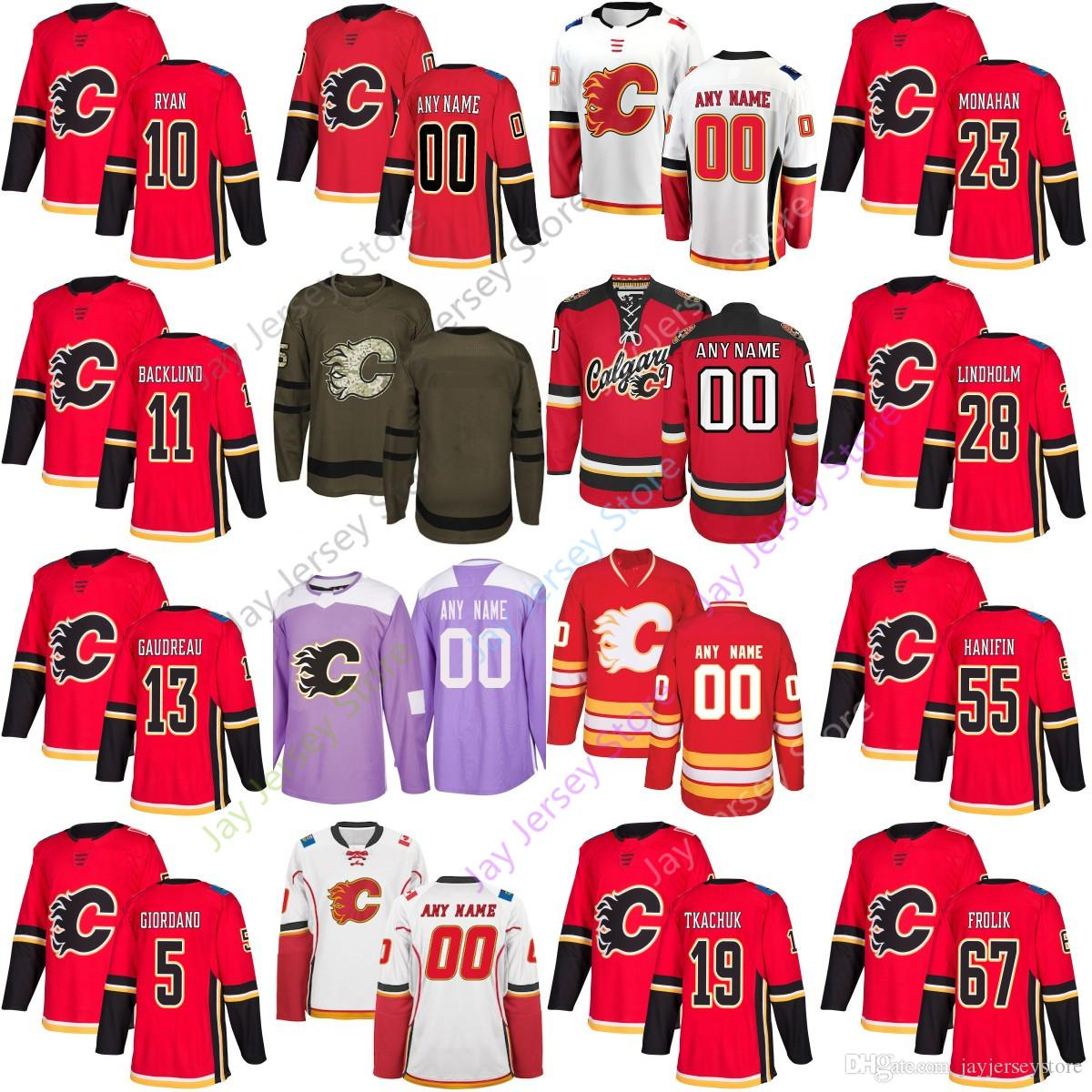 wholesale dealer 4ac33 5f7d5 2019 Custom Calgary Flames Jersey Matthew Tkachuk Elias Lindholm Mikael  Backlund Hanifin TJ Brodie Bennett Gaudreau Giordano Monaha Fantenberg From  ...