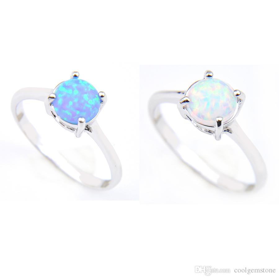 Luckyshine 12 шт. / Лот День Святого Валентина подарок круглый синий белый огонь опал для драгоценного камня кольцо стерлингов 925 стерлингов 925