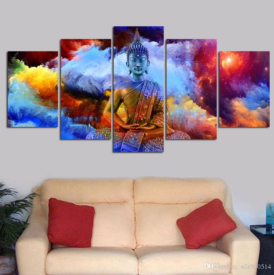 Canvas HD Print Poster Wall Art 5 Pieces Colour Buddha Painting Home Decor No Frame