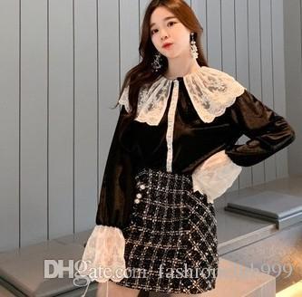 Nova Chegada Venda Quente Especial Moda Ruffled Versão Coreana Fada Feminina Renda Preta Grande Cor Da Mistura de Lapela Selvagem Base de Veludo Top Tide Camisa