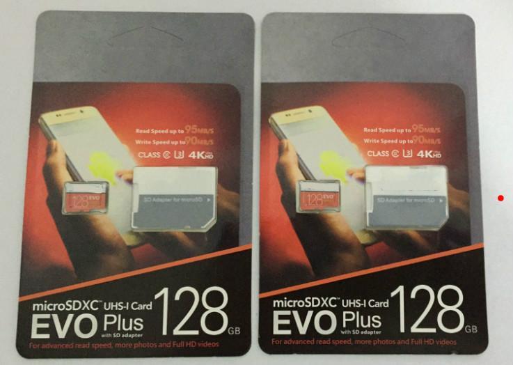 DHL Бесплатная доставка 8G / 16GB / 32GB / 64GB / 128GB / 256GB EVO + PLUS Micro SD-карта U3 / смартфон TF Card C10 / планшетный ПК SDXC Карта для хранения 95 МБ / с