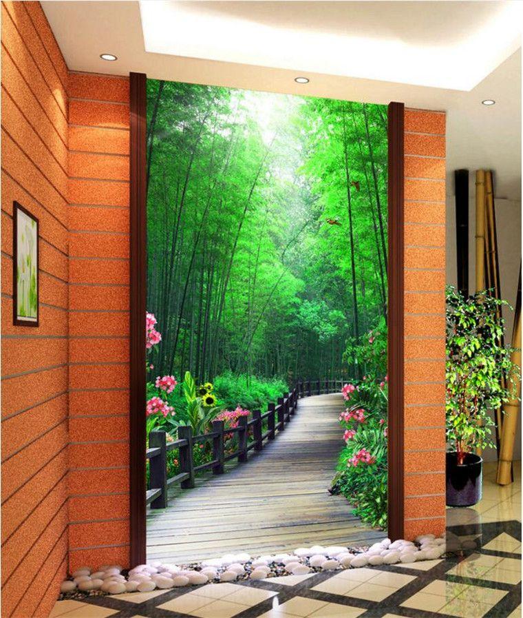 Пользовательские фото 3d обои цветы и бамбук лесной пейзаж крыльцо гостиная украшения живопись 3d настенные росписи обои