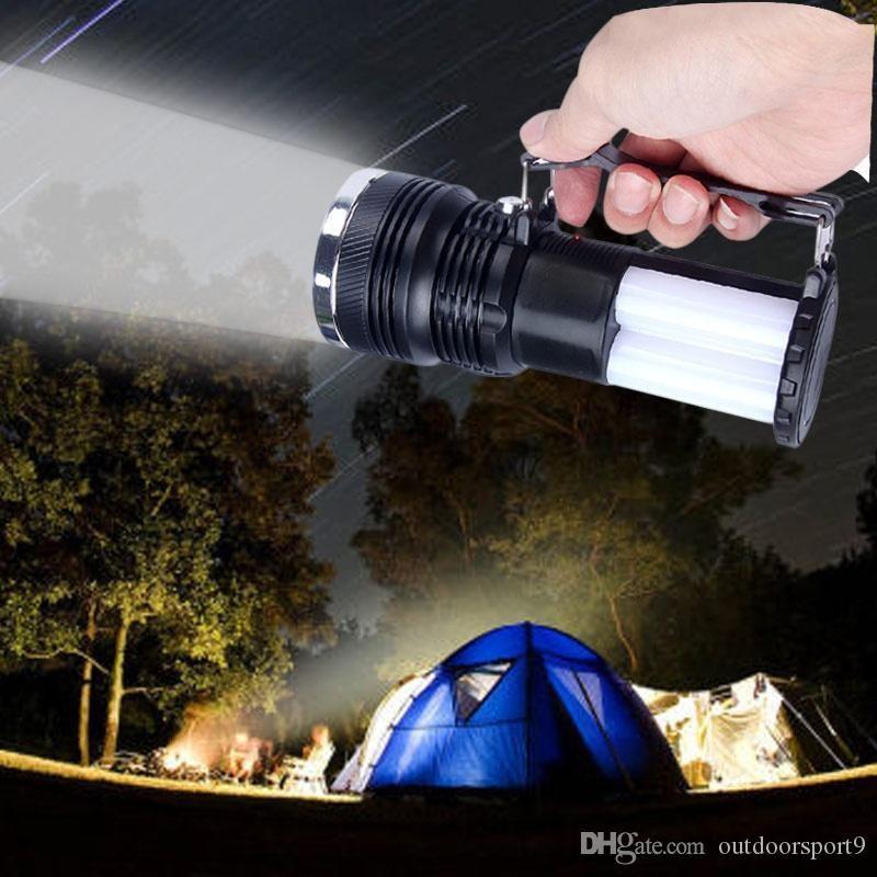 2019 portable multifonctionnel solaire rechargeable batterie LED lampe de poche camping en plein air Tente Lampe longue portée LED Flash Lumière
