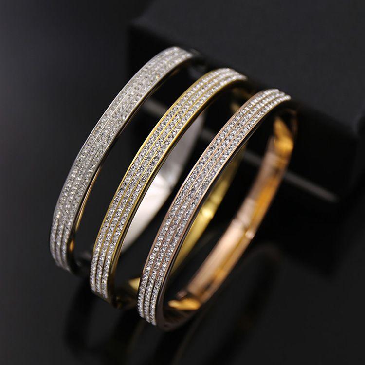2019 Stili 3 file strass oro Colore Acciaio inossidabile del polsino Amore donne del braccialetto di cristallo di Open regalo gioielli da sposa