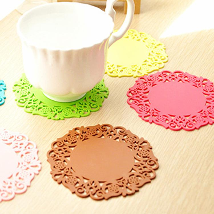 Creative Home Kitchen Must-have Items Fashion Hollow Silicone Coasters Color Fashion New Durable Non-slip Insulation Placemat
