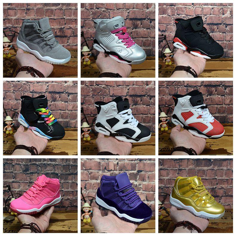 2020 Big crianças 11 11s Space Jam Bred Concords Juventude Meninos tênis de basquete Sneakers 6 11 crianças 6s esportes branco rosa Suede Toddlers