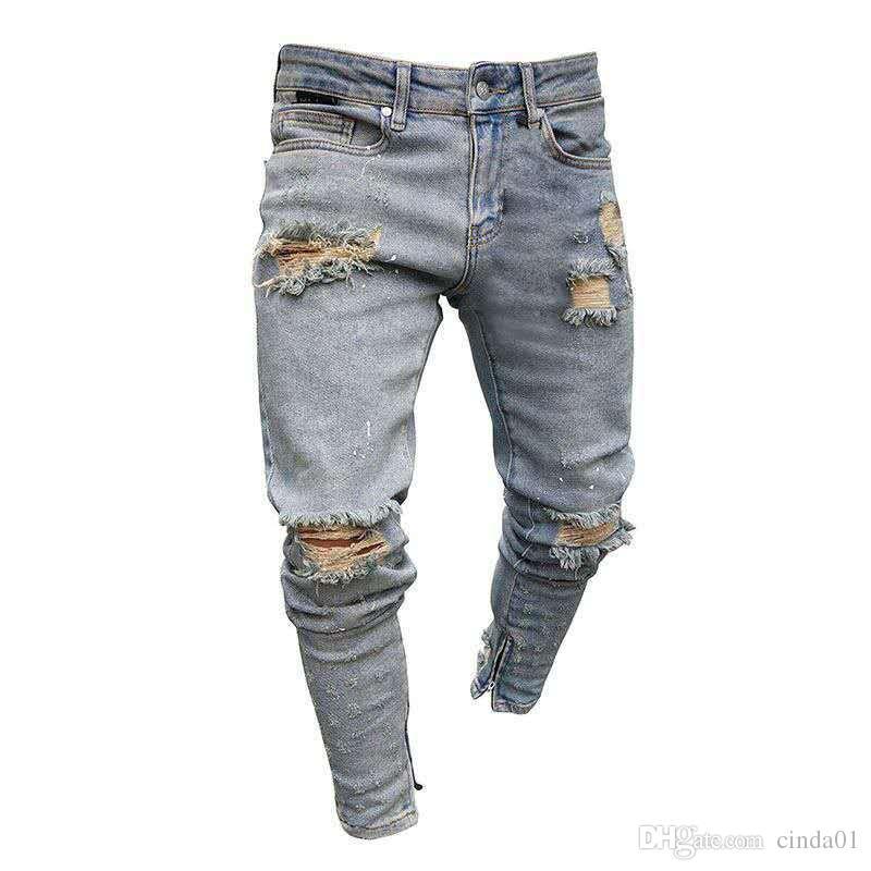 Mens Jeans Slim Fit Gros Trou Crayon Pantalons Nouveau Style Haute Élastic Summer Street Street Hip Hop Urban Vent Casual Casual