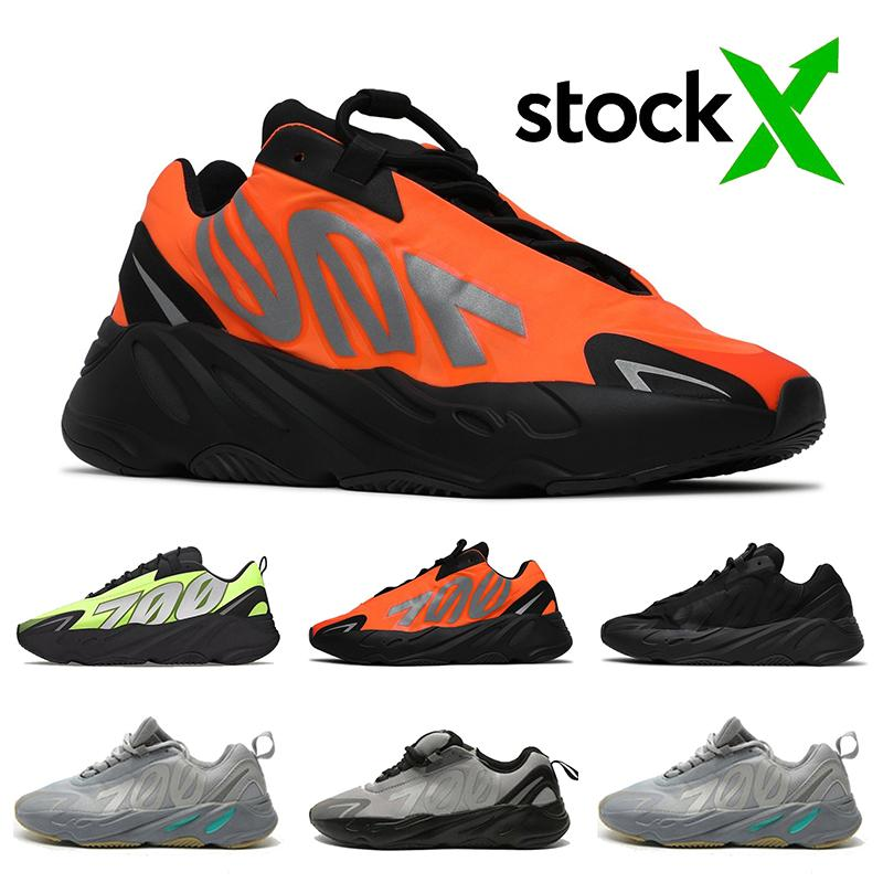 2020 Top qualité Stock x 700 MNVN femmes hommes chaussures de course noir FV4440 orange FV3258 Phosphore blanc os baskets de sport formateurs réfléchissantes
