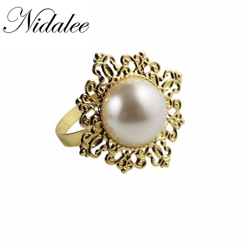 Nidalee Pearl Metal Gold Silver Napkin Rings Flower For Bulk Weddings Blue Kitchen Holder Banquet Dinner Diamond Decor 12pcs