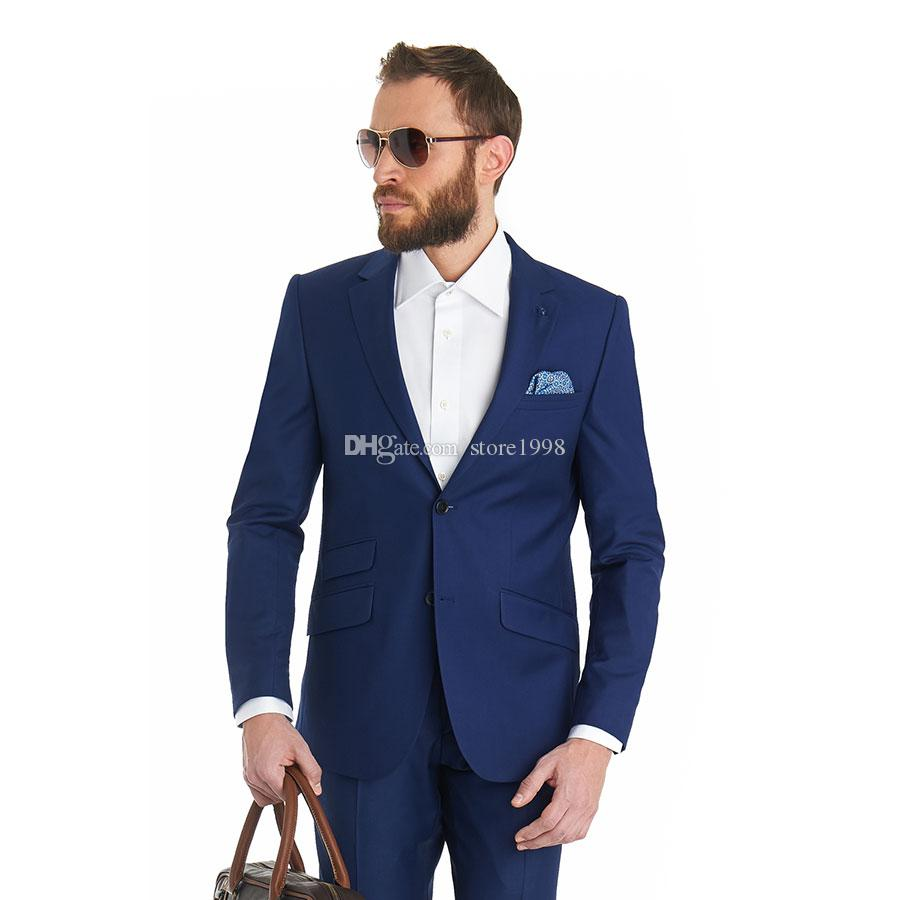 جديد وصول رفقاء العريس الشق التلبيب العريس البدلات الرسمية الأزرق الرجال الدعاوى الزفاف / حفلة موسيقية أفضل رجل السترة (سترة + سروال + التعادل) a624