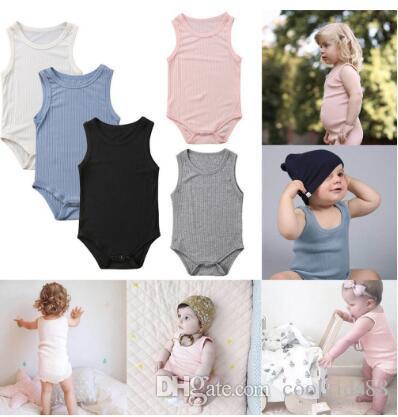 Verano 2020 bebés de la manera ropa mono del niño del bebé encantadora linda sin mangas sólido raya sunsuit el mono recién nacidos