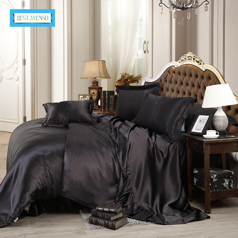BEST.WENSD puro di alta qualità in raso di seta Bedding Set Regina Set king size sonore Biancheria Solid Copripiumino Foglio