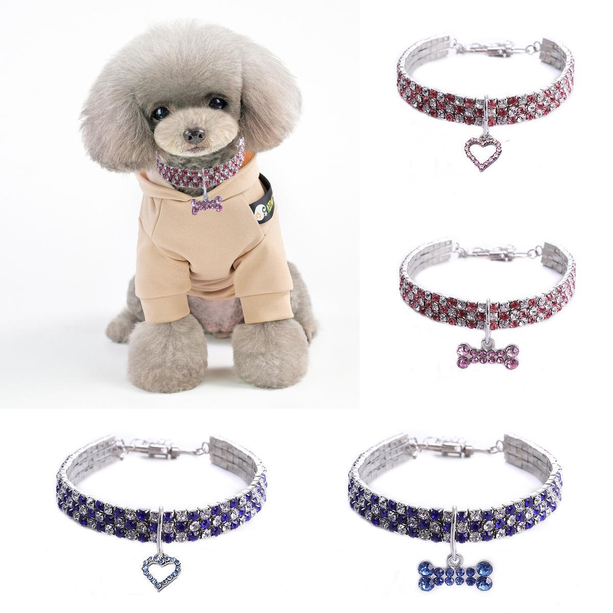 Collar del animal doméstico del gato del Rhinestone collar de perro Diamantes Diamante cristalino brillante del gato del perro elástico con el hueso colgante de collar