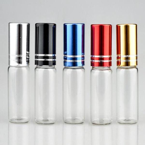 5 Renkli Cap Parfüm Şişesi Şişeleri Doldurulabilir Alüminyum Cap Roll-On Cam Silindir Topu Şişe Uçucu Yağlar boşaltın 10ml