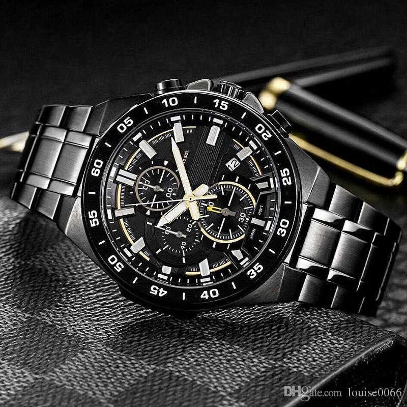 Top qualidade orologio reloj de lujo de quartzo relógio de aço inoxidável Designer di lusso EFR-564TR-2AJR New EFR-564TR EFR 564TR 564 esportes dos homens