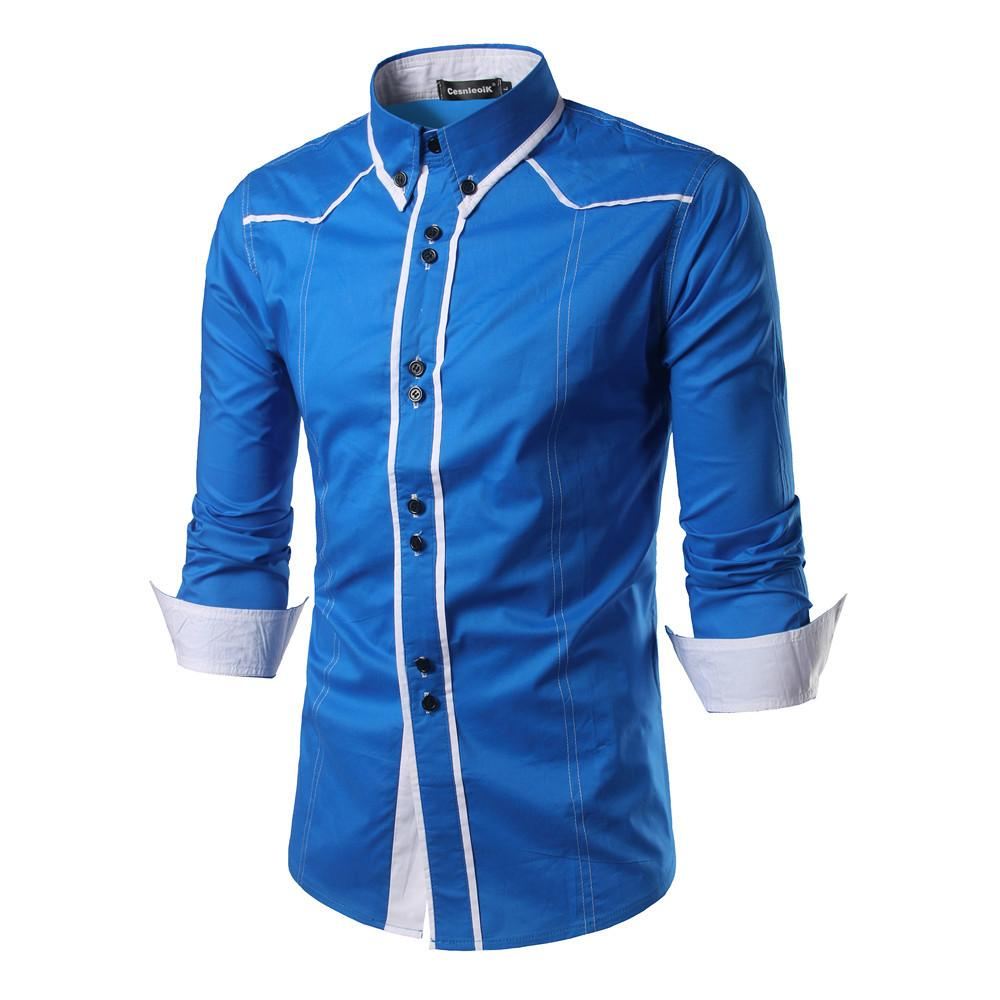Camisa de los hombres camisas Europa Tamaño nuevas llegadas Slim Fit camisa masculina sólido de manga larga del estilo británico de los hombres del algodón C200 MX200518