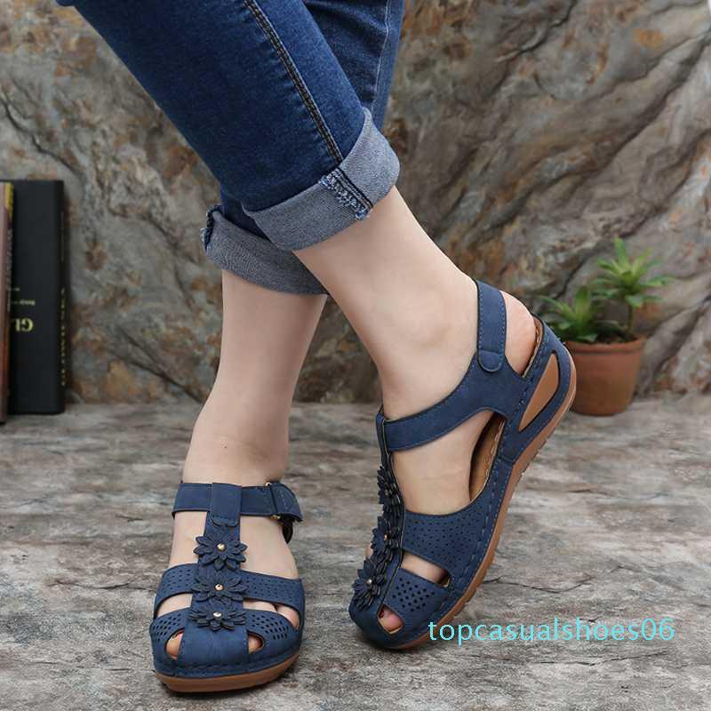 Donne cuneo gladiatore sandali delle donne Scarpe Peep Toe Boemia Flip-Flop Cinturino di slittamento casuale escursione esterno che su scarpe Donna