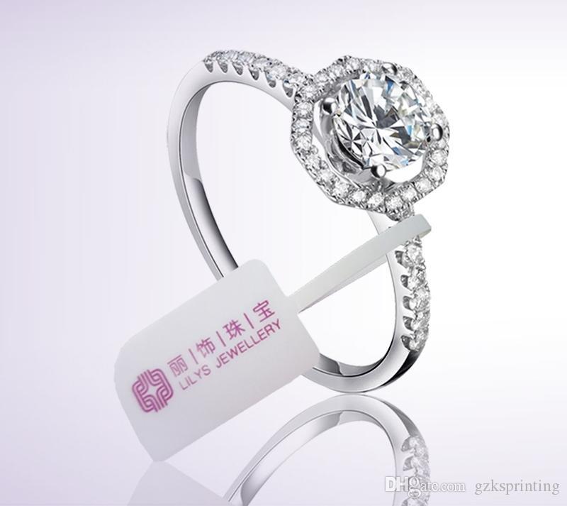 Les petites étiquettes de prix / étiquettes pour bracelet anneaux bijoux / jade / collier personnalisé imprimé hangtags bijoux couleur unie / blanc en blanc / kraft / argent