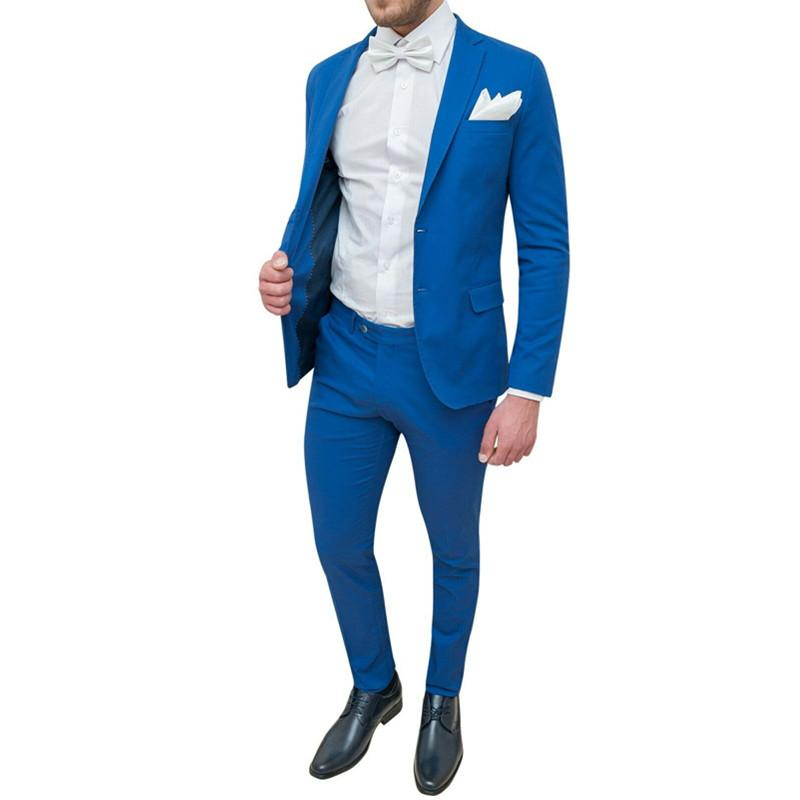 2021 Blue Mens Suits Mens Slim Suit Two Piece Suit Blazers With Trousers Suit Wedding Groom Groomsman Formal Suits Dress Custom From Tianheshuishop 101 52 Dhgate Com