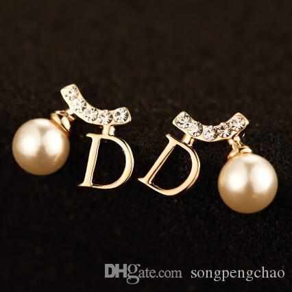2016 nuovo modo della perla della vite prigioniera orecchini per le donne coreane Lettera di cristallo D Forma orecchini gioielli e accessori