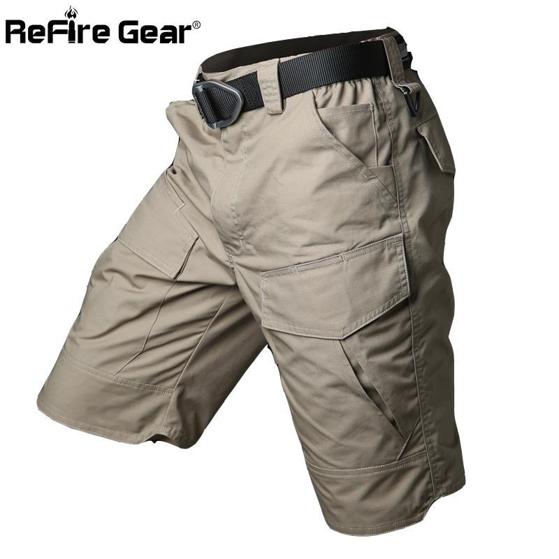Estate Militar impermeabile tattica Cargo Shorts del camuffamento dell'esercito militare corto maschile Tasche Cotone Rip-stop casuale Pantaloncini T200325