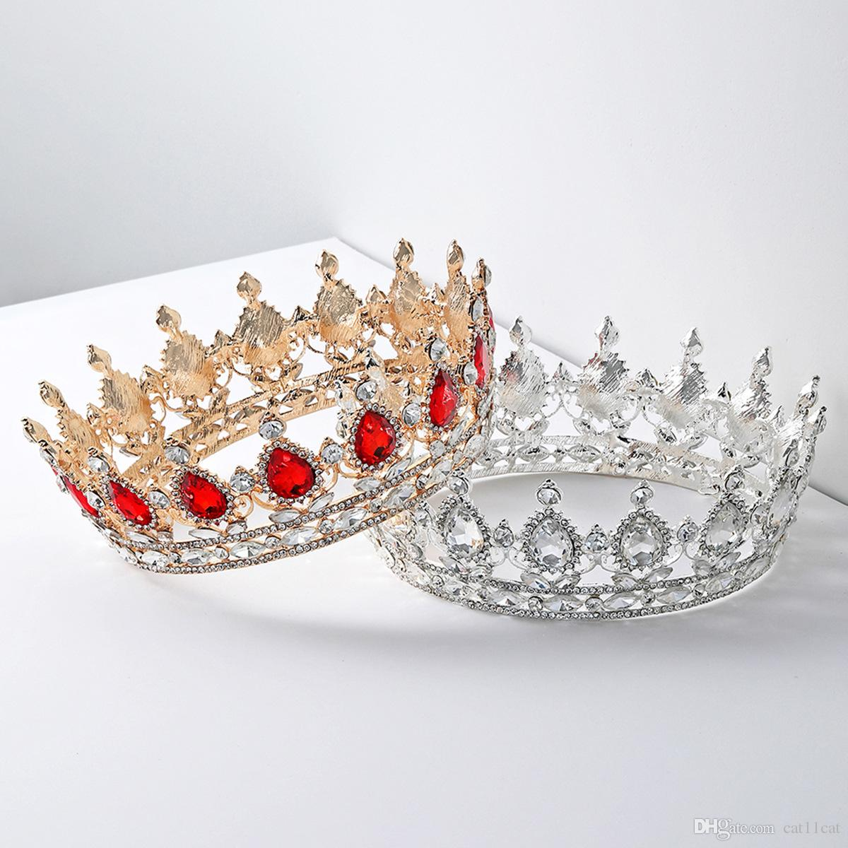 Baroque Queen King Bride Tiara Crown For Women Headdress Prom Bridal Wedding Tiaras and Crowns Hair Jewelry Accessories