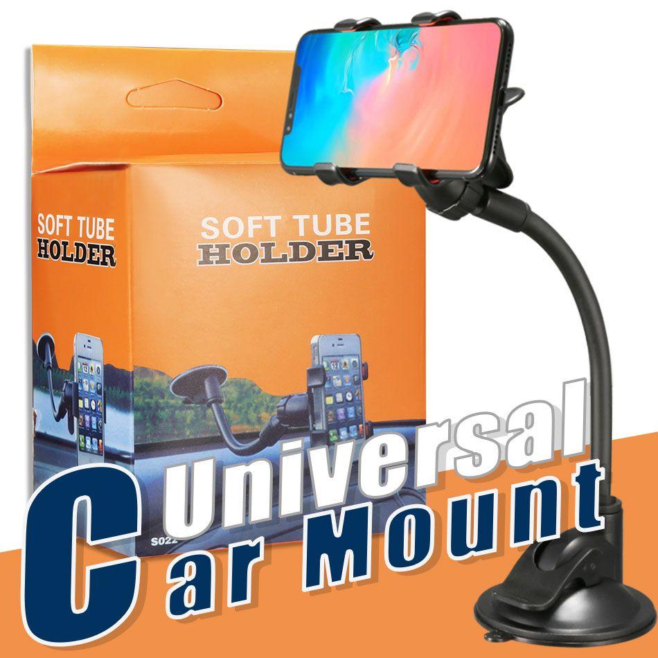 Universal Longo Suporte Do Carro Do Braço de Montagem com Clipe Ventosa 360 Graus Girado Suporte Do Telefone Para 4.7 polegada 6.8 polegadas Celular com Caixa
