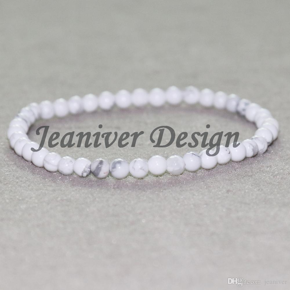 Jeaniver 2019 Bracelet Howlite Blanc 4 mm Mini Pierre Bracelet Yoga Bracelet Meilleures Amoureux Cadeau Bracelet Drop Shipping