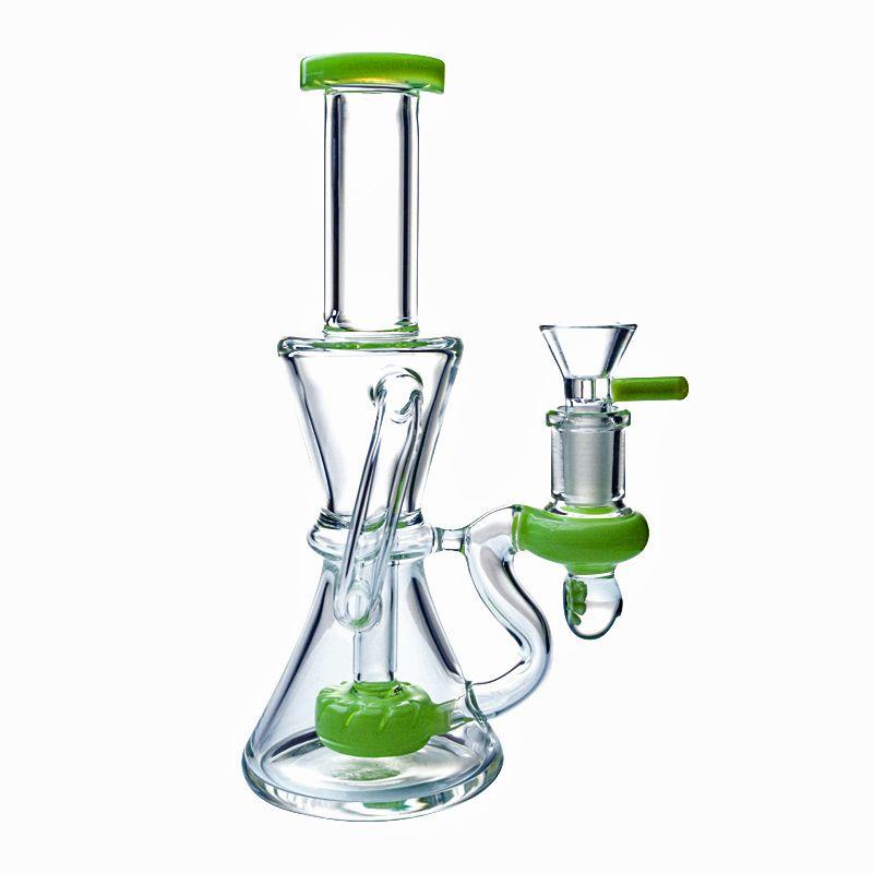 Vente en gros recycleur de verre Bong Showerhead Perc Pipes Smoking 14mm Joint Heady verre Klein Water Pipe Dab huile Rigs avec bol