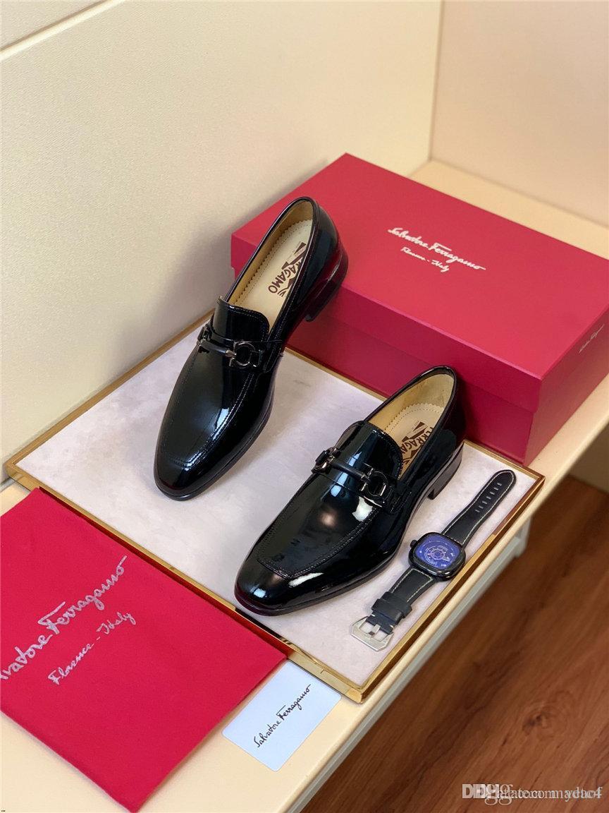 20SS Mode de soirée de mariage Chaussures British style Luxe Chaussures Oxford Black Business Chaussures Classique formel Homme Chaussures Taille Plus de YETC4