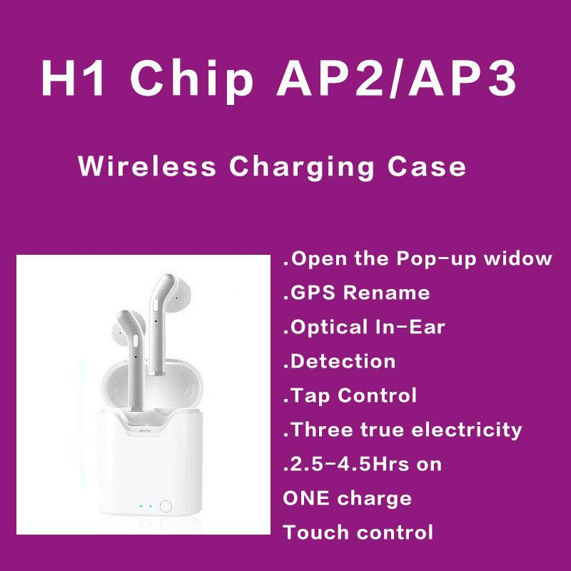 GPS 이름 바꾸기 AP2 AP3 미니 TWS 블루투스 이어폰 H1 무선 케이스 공기 충전 2 3 프로 이어폰 감지 포드 PK I200 i10000