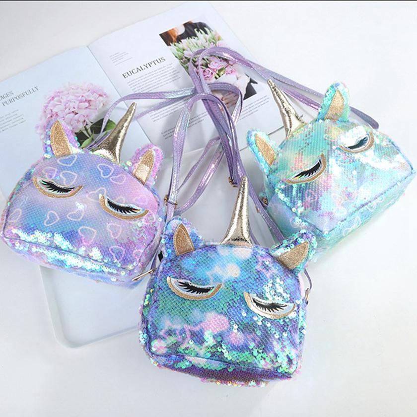 장식 조각 유니콘 지갑 어린이 만화 크로스 바디 백 여자 반짝이 귀여운 핸드백 디자인 유니콘 색상 변경 어깨 가방 HHA1368