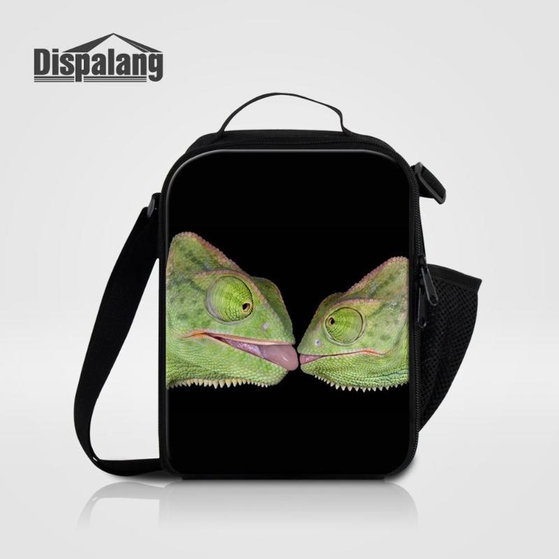 Dispalang Men's Small Lunch Bag Boys Messenger Cooler Bag Male Picnic Crossbody Animal Lizard Printing Lunch Box For School