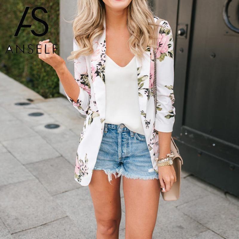 Koreanische mode blazer frauen floral druck anzug jacke blazer geöffnet vorne lange sleeve arbeit lässig mantel weibliche oberbekleidung weiß