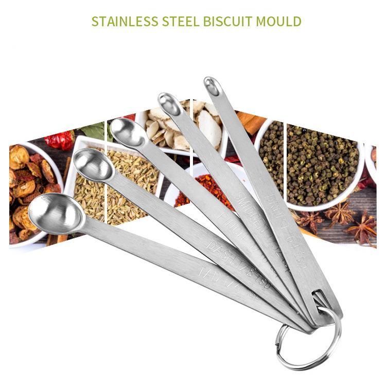 ملعقة فولاذية مصغرة قياس ملعقة Set Kitching Seaboning Measuring Five-piects Baking Tool Measuring Tools XD23382